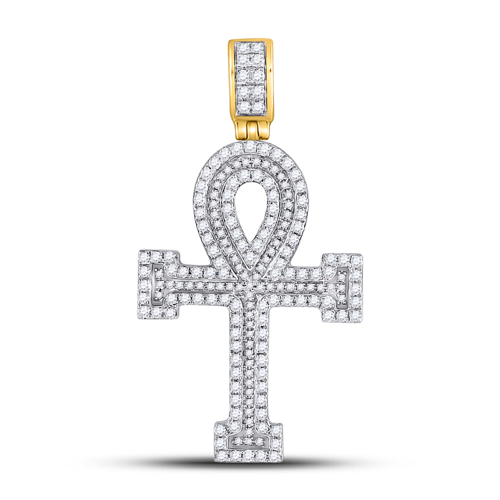 14K Yellow Gold Men's Diamond Ankh Cross Charm Pendant 1-5/8 Ct