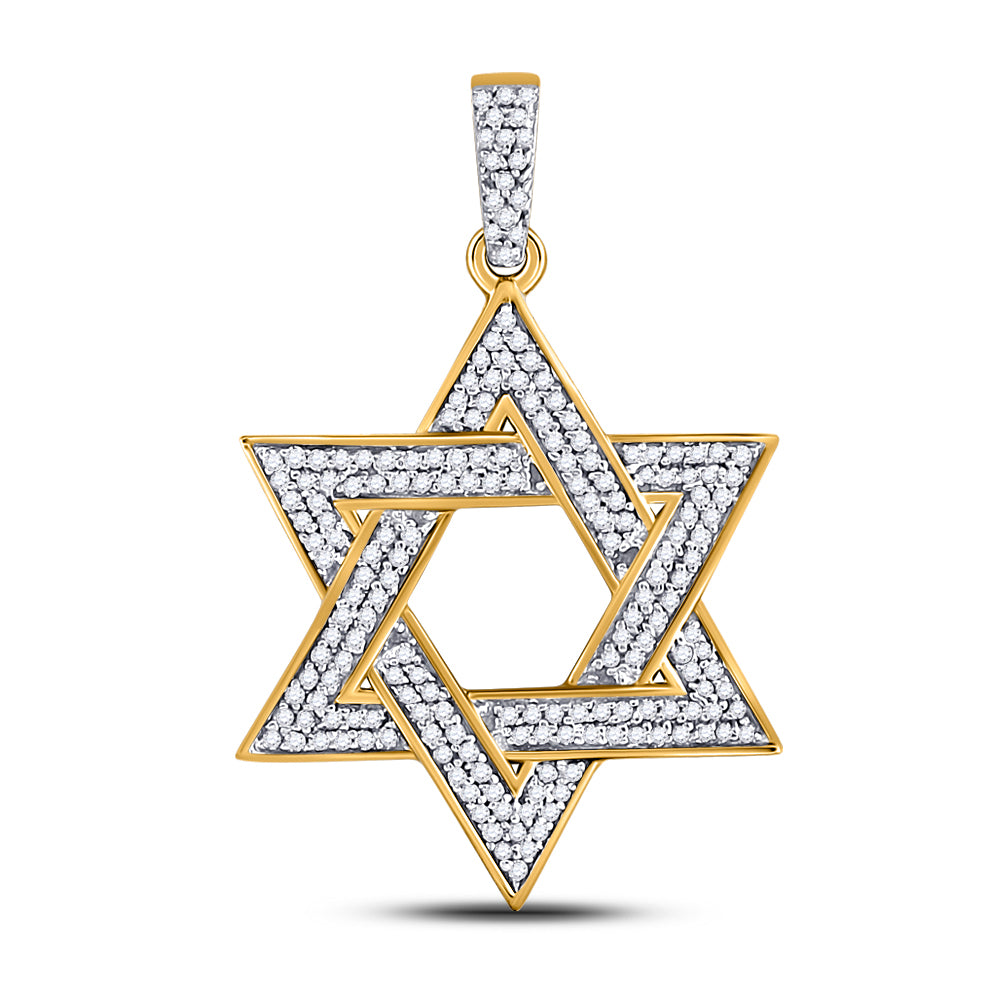 10K Yellow Gold Men's Diamond Magen Star of David Jewish Charm Pendant 1/2 Ct