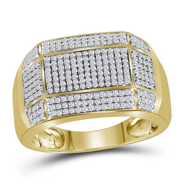Men's 3/4 Ct Diamond Rectangle Cluster Ring in 10K Yellow Gold