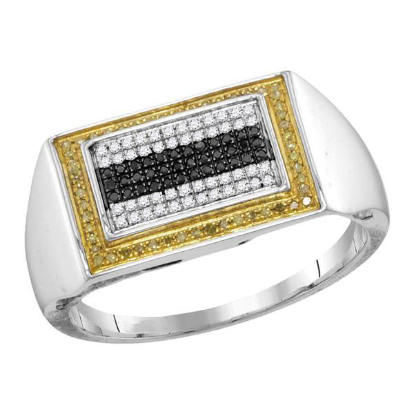 Men's 1/4 Ct Diamond Black Yellow Color Rectangle Cluster Ring in 10K White Gold