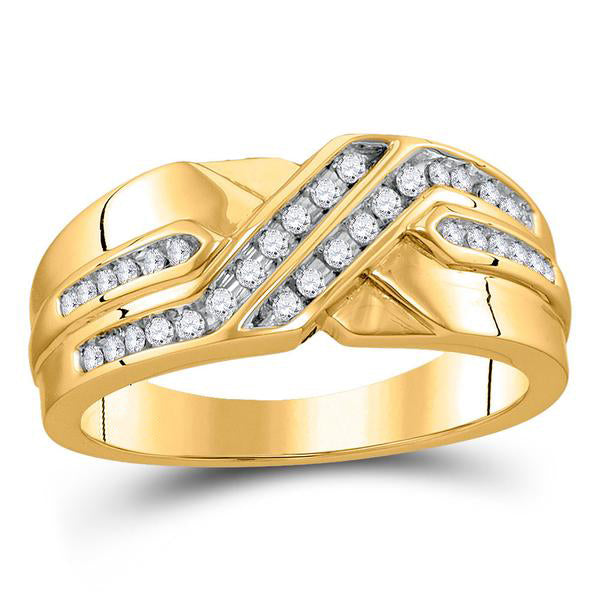 Men's 1/4 Ct Diamond Diagonal Double Row Band Ring in 10K Yellow Gold