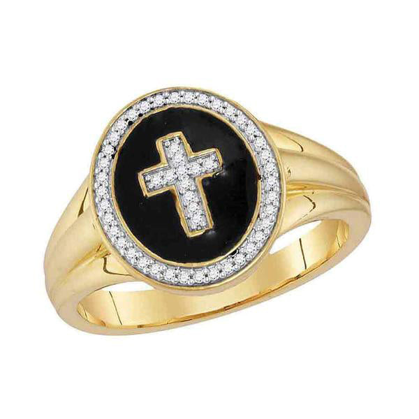 Men's 1/6 Ct Diamond Cross Crucifix Fashion Ring in 10K Yellow Gold