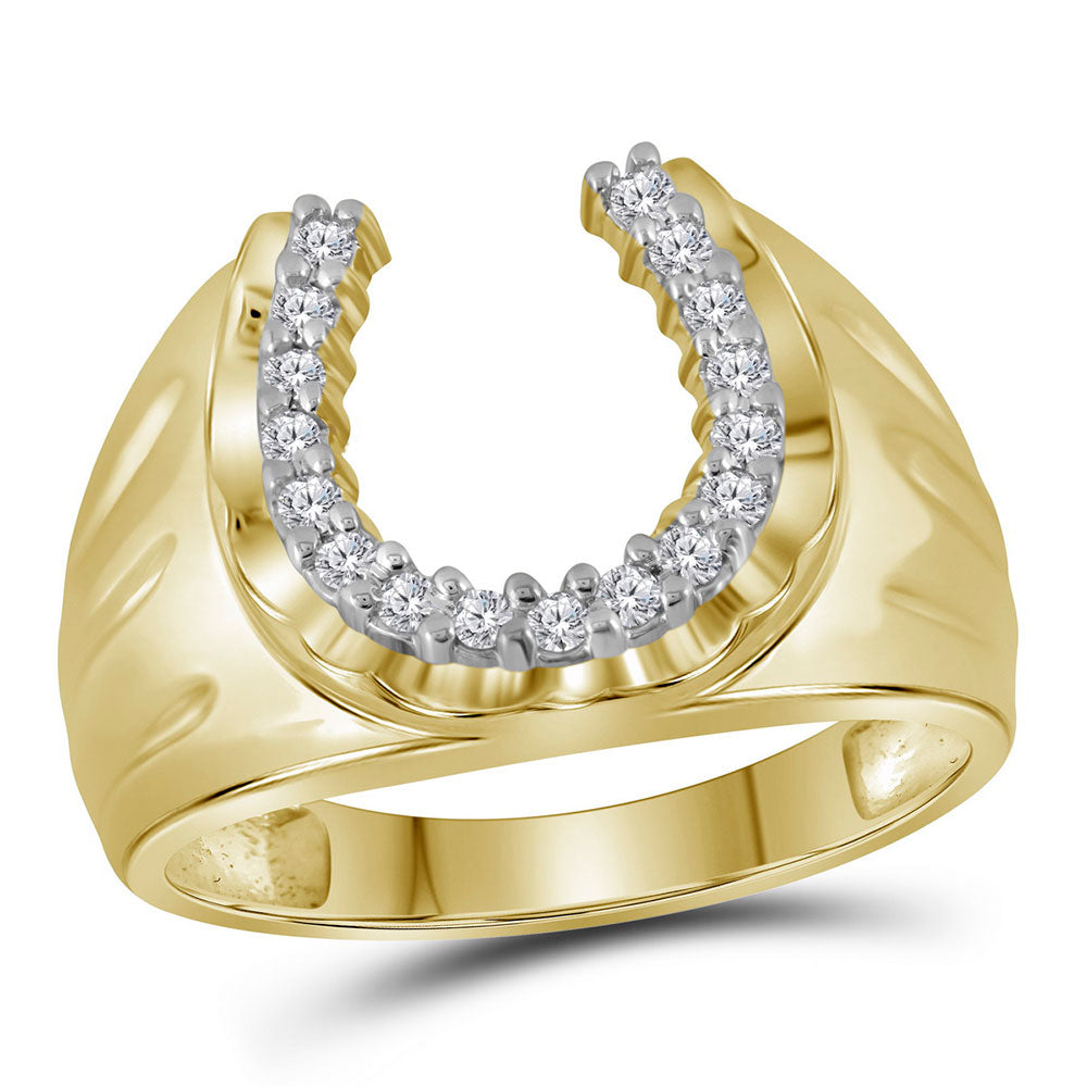 10K Yellow Gold Mens Round Diamond Horseshoe Ring 1/4 Ct