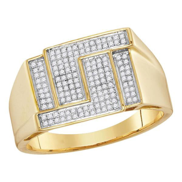 Men's 1/4 Ct Diamond Pave-set Angle Rectangle Cluster Ring in 10K Yellow Gold