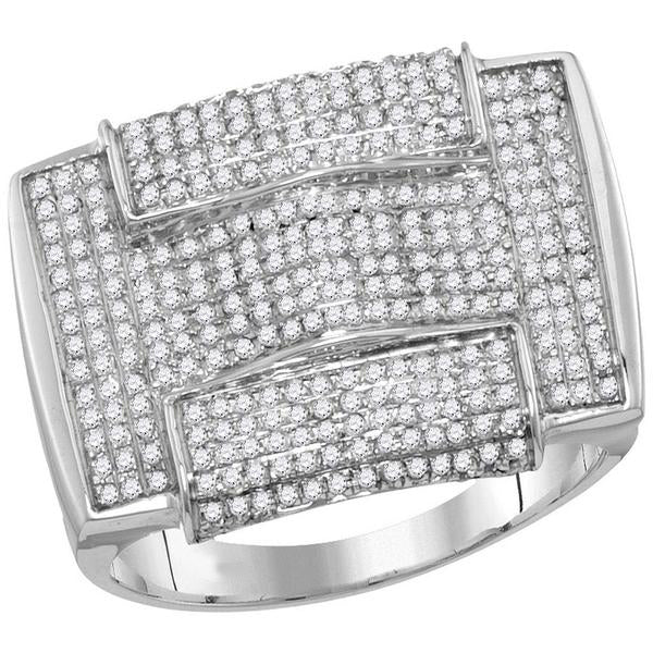 Men's 1.00 Ct Diamond Pave-set Rectangle Arched Cluster Ring in 10K White Gold
