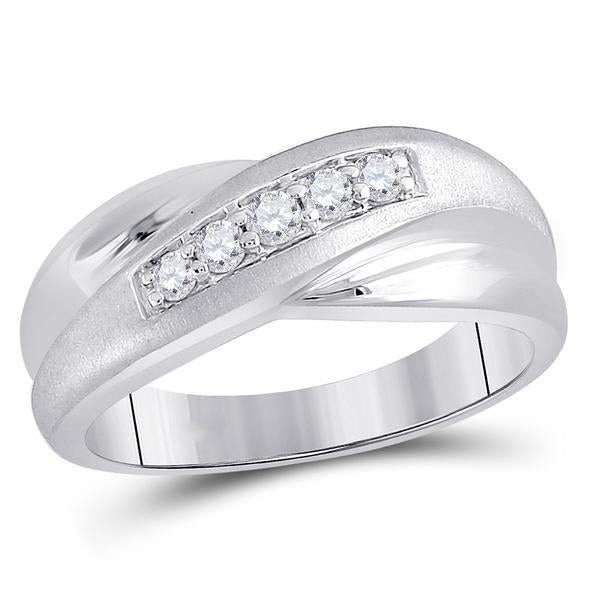 Men's 1/4 Ct Diamond Diagonal Row Matte Band Ring in 10K White Gold