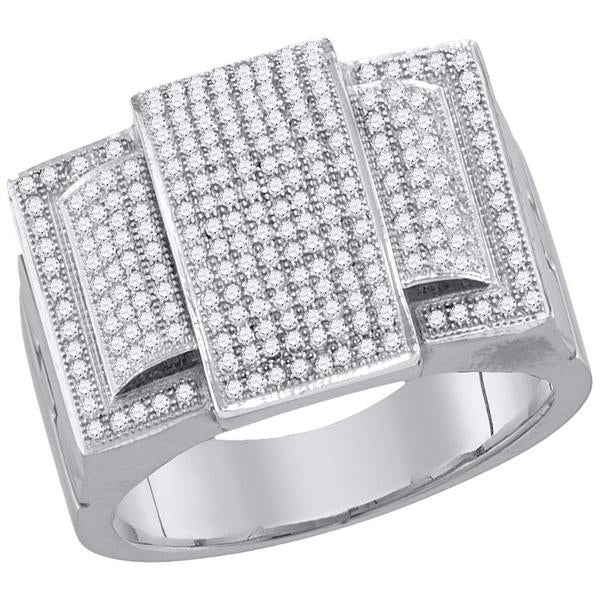 Men's 3/4 Ct Diamond Rectangle Elevated Cluster Ring in 10K White Gold