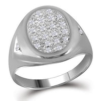 10K White Gold Mens Round Diamond Oval Cluster Ring 1/4 Ct