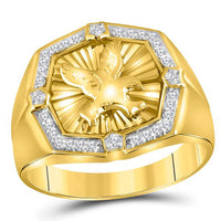 Men's 1/4 Ct Diamond Eagle Cluster Ring in 10K Yellow Gold