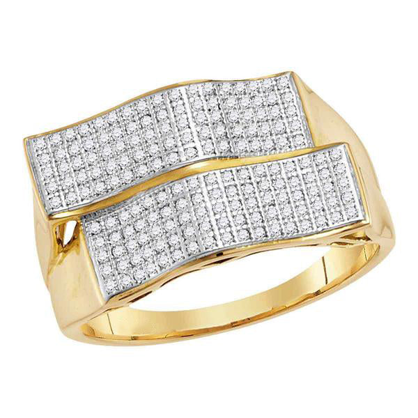 Men's 1/2 Ct Diamond Pave-set Rectangle Cluster Ring in 10K Yellow Gold