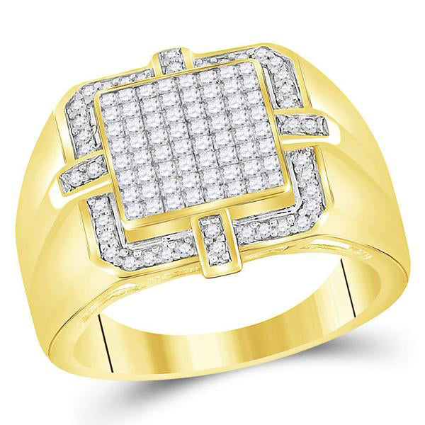 Men's 1.00 Ct Diamond Princess Square Frame Cluster Ring in 10K Yellow Gold