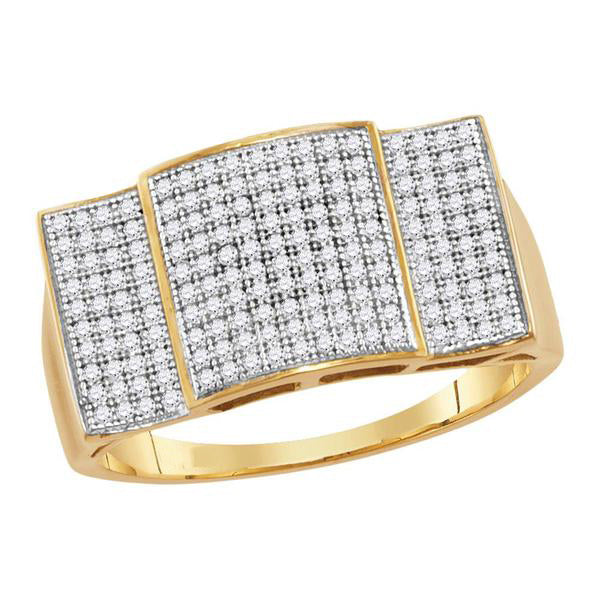 Men's 1/2 Ct Diamond Pave-set Rectangle Convex Cluster Ring in 10K Yellow Gold