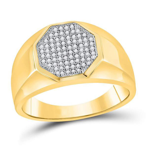 Men's 1/4 Ct Diamond Octagon Cluster Ring in 10K Yellow Gold