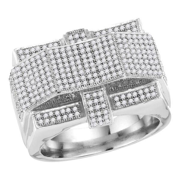 Men's 1.00 Ct Diamond Rectangle Arched Cluster Ring in 10K White Gold