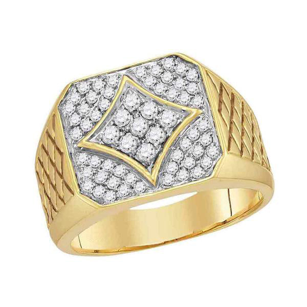 Men's 3/4 Ct Diamond Square Cluster Textured Ring in 10K Yellow Gold