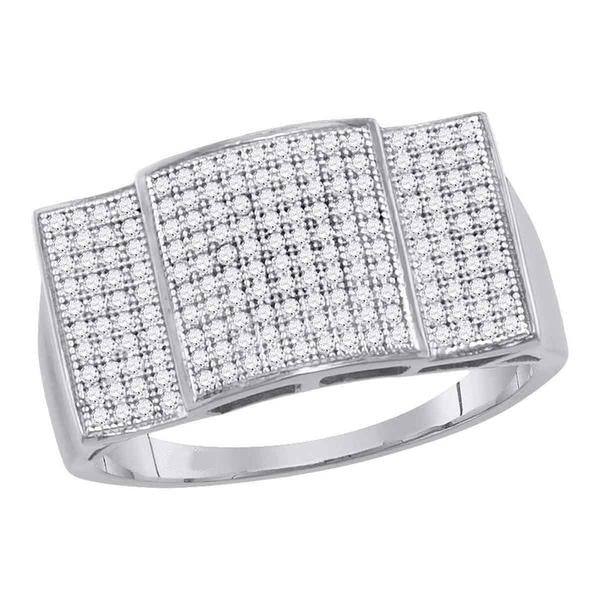 Men's 1/2 Ct Diamond Pave-set Rectangle Dome Cluster Ring in 10K White Gold