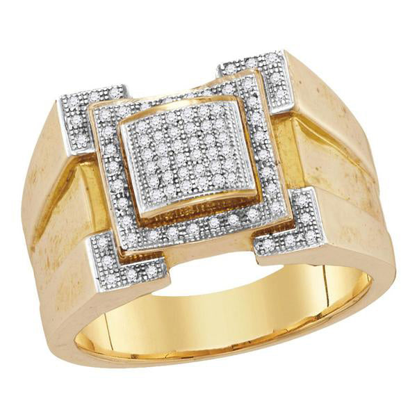 Men's 1/4 Ct Diamond Square Frame Cluster Ring in 10K Yellow Gold