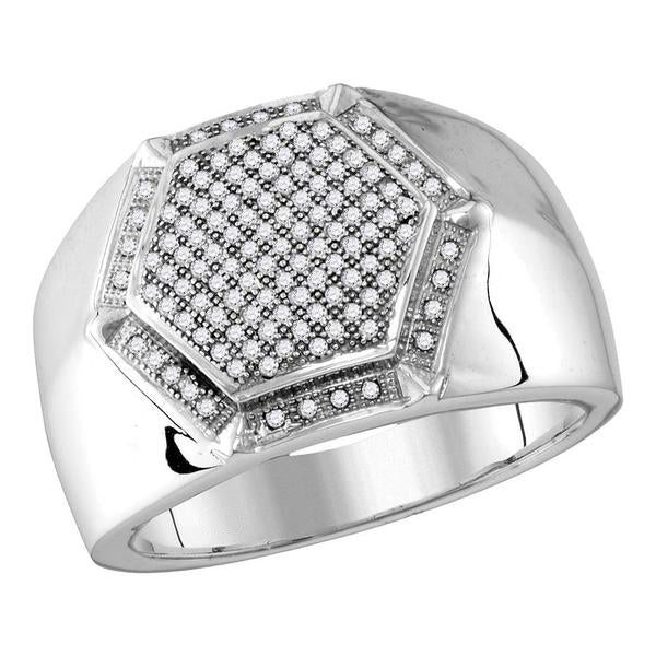 Men's 3/8 Ct Diamond Hexagon Frame Cluster Ring in 10K White Gold