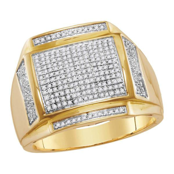 Men's 1/2 Ct Diamond Pave-set Square Cluster Ring in 10K Yellow Gold