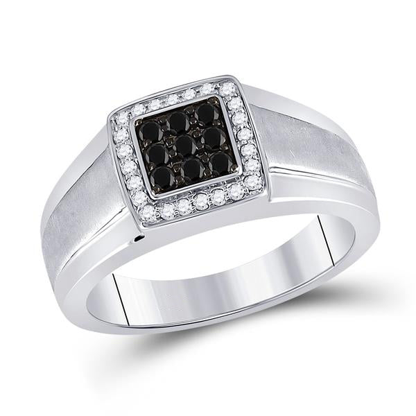 Men's 3/8 Ct Diamond Black Color Square Cluster Ring in 10K White Gold