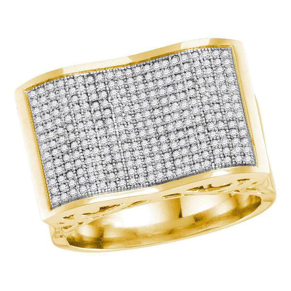 Men's 7/8 Ct Diamond Pave-set Rectangle Concave Cluster Ring in 10K Yellow Gold