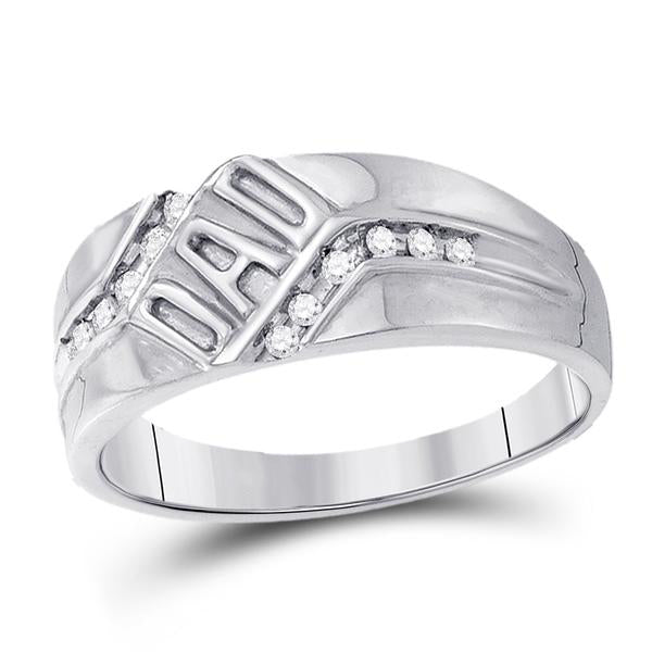 Men's 1/8 Ct Diamond Dad Father Band Ring in 10K White Gold