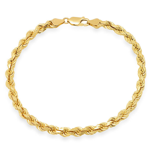 14K Yellow Gold Men's Solid Rope Bracelet