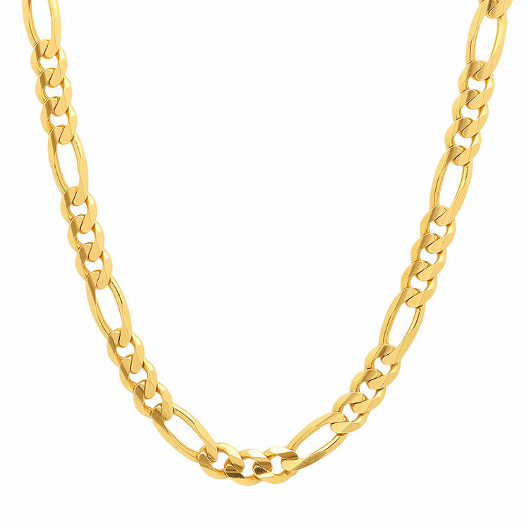 14K Yellow Gold Men's Solid Figaro Chain