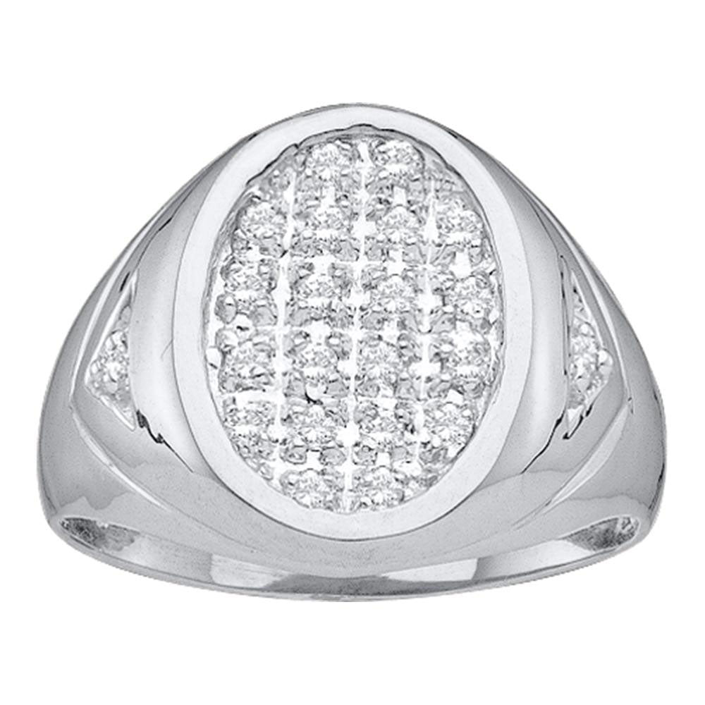 14K White Gold Mens Round Diamond Oval Cluster Ring 1/4 Ct