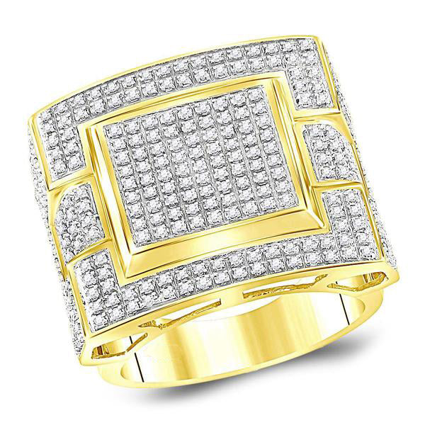 Men's 1.00 Ct Diamond Square Cluster Ring in 10K Yellow Gold
