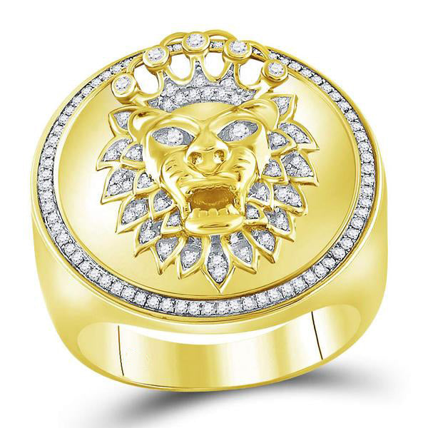 Men's 3/8 Ct Diamond Lion Crown Cluster Ring in 10K Yellow Gold