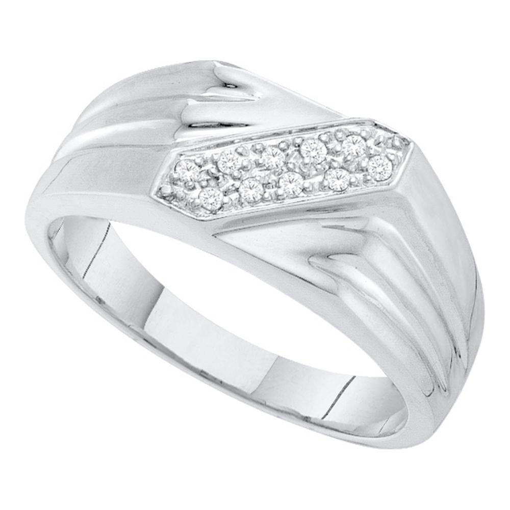 10K White Gold Mens Round Diamond Band Ring 1/10 Ct
