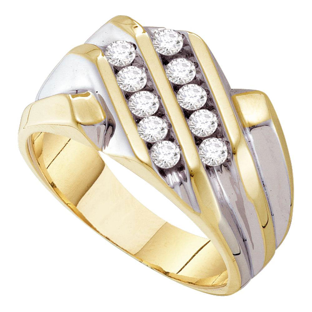 10K Yellow Gold Mens Round Diamond Double Row Band Ring 1/2 Ct