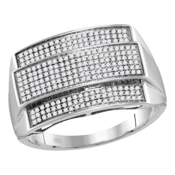 Men's 3/8 Ct Diamond Rectangle Cluster Ring in 10K White Gold