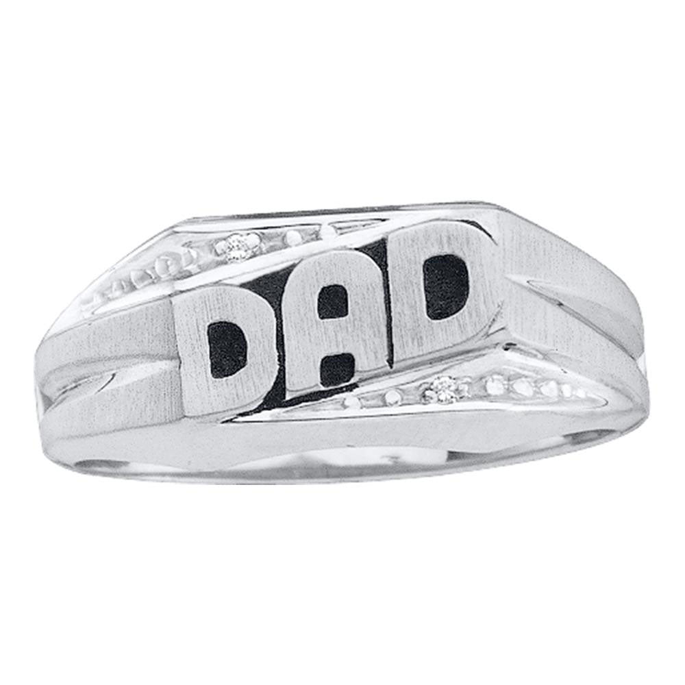 14K White Gold Mens Round Diamond Dad Father Ring .01 Ct