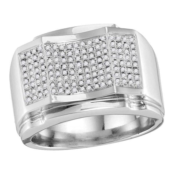 Men's 1/2 Ct Diamond Arched Concave Square Cluster Ring in 10K White Gold