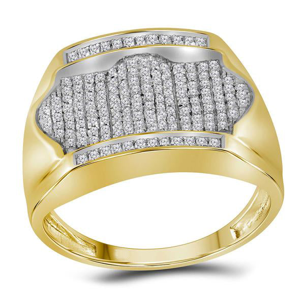 Men's 1/2 Ct Diamond Rectangle Arched Cluster Ring in 10K Yellow Gold