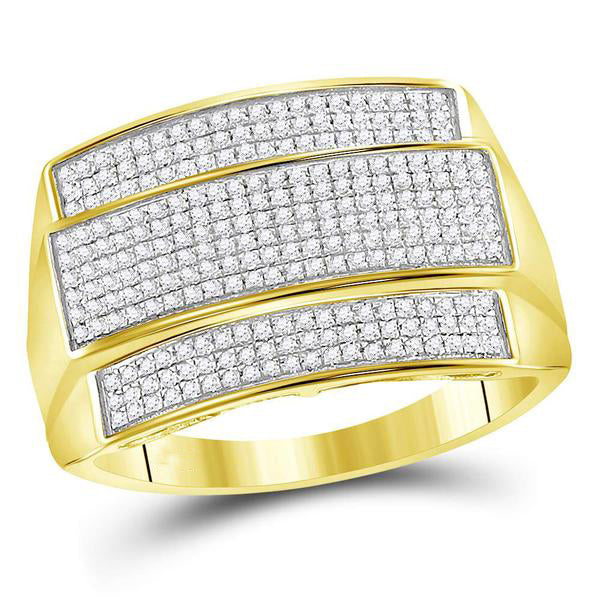 Men's 3/8 Ct Diamond Rectangle Cluster Ring in 10K Yellow Gold