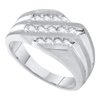 10K White Gold Mens Round Diamond Band Ring 1/2 Ct