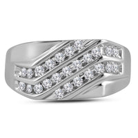 10K White Gold Mens Round Pave-set Diamond Triple Row Cluster Ring 1/2 Ct