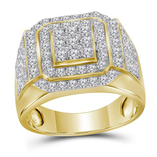 Men's 2-1/2 Ct Diamond Square Frame Cluster Ring in 10K Yellow Gold