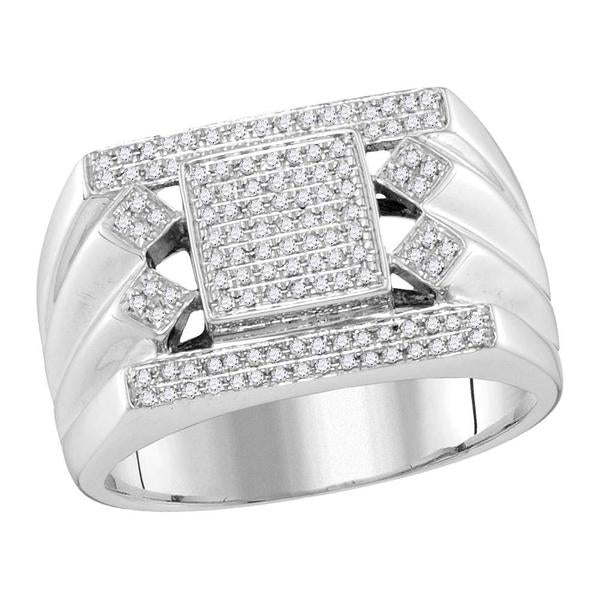 Men's 3/8 Ct Diamond Square Center Cluster Ring in 10K White Gold