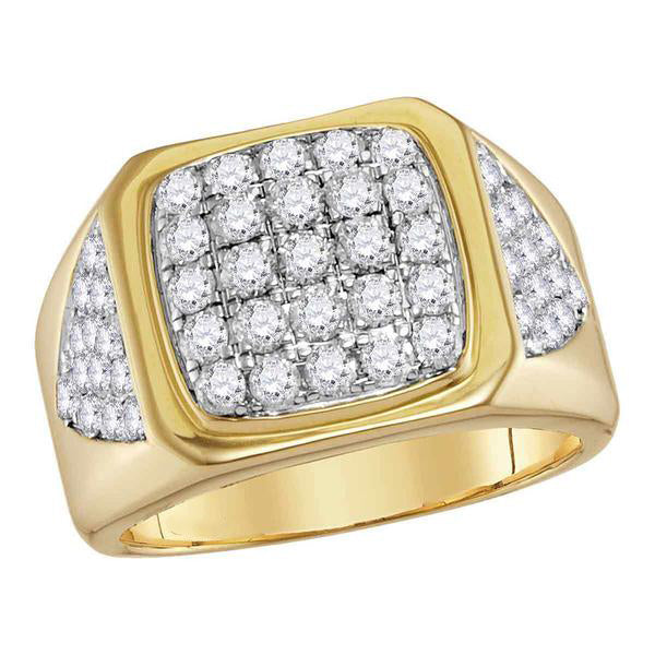 Men's 2-1/3 Ct Diamond Square Cluster Ring in 14K Yellow Gold