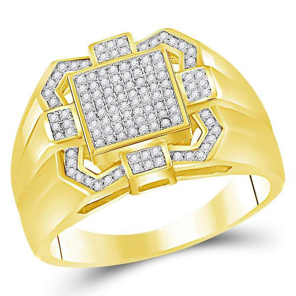 Men's 3/8 Ct Diamond Square Cluster Ring in 10K Yellow Gold