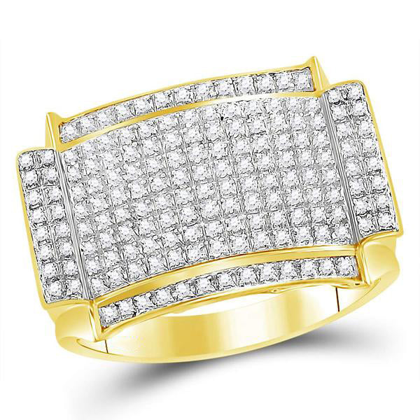 Men's 1/2 Ct Diamond Rectangle Cluster Ring in 10K Yellow Gold