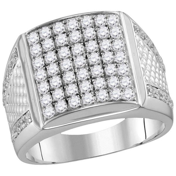 Men's 2-1/4 Ct Diamond Pave-set Square Cluster Textured Ring in 10K White Gold