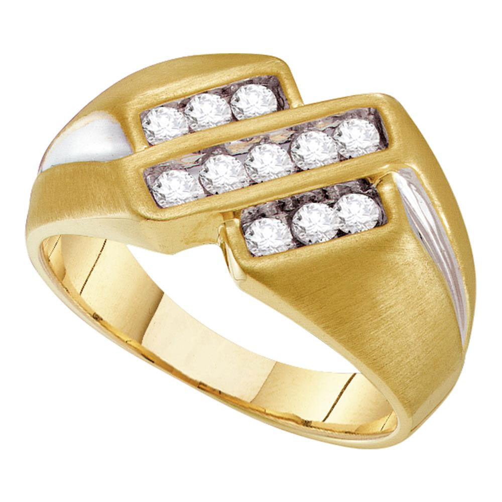 10K Yellow Two-tone Gold Mens Round Channel-set Diamond Triple Row Band Ring 1/2 Ct