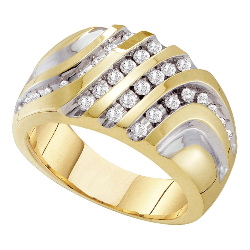 10K Yellow Gold Mens Round Diamond Four Row Two-tone Cluster Ring 1/2 Ct