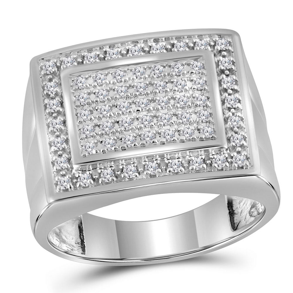10K White Gold Mens Round Diamond Square Frame Cluster Ring 1/2 Ct