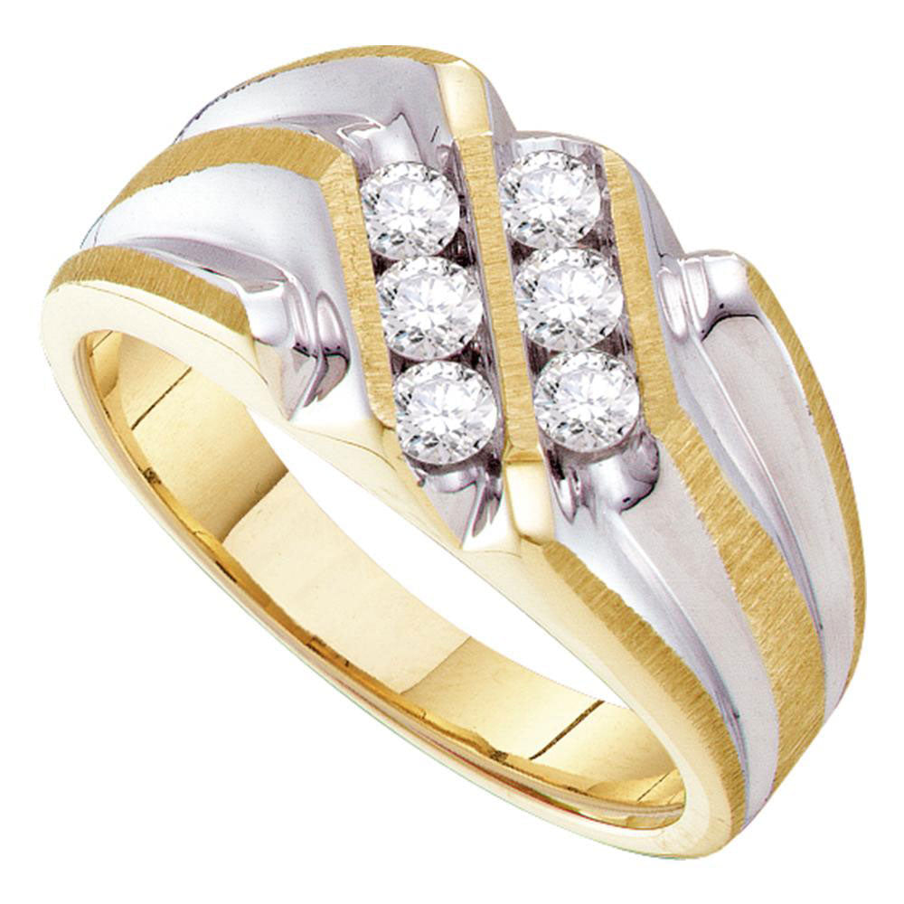 10K Yellow Gold Mens Round Diamond Double Row Two-tone Ridged Band Ring 1/2 Ct